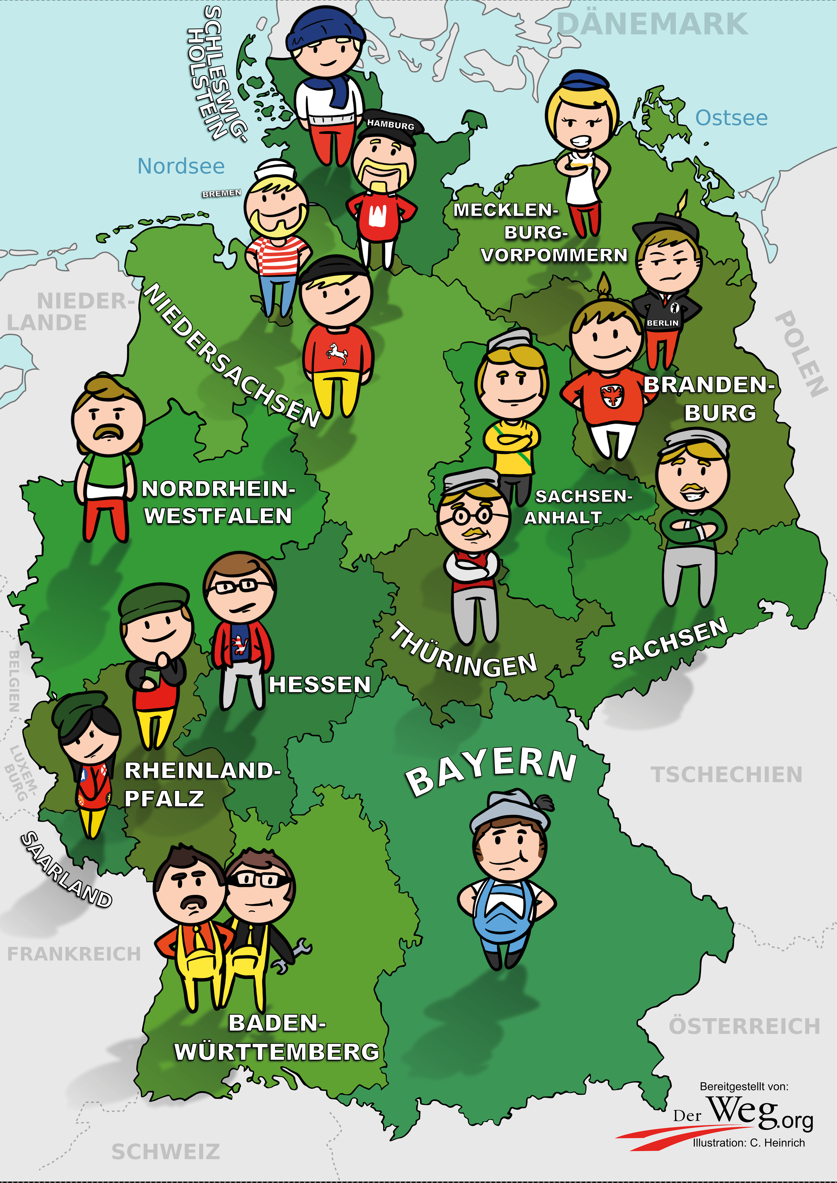 Deutschlandkarte | Der Weg - Bundesrepublik Deutschland Bundesländer Karte